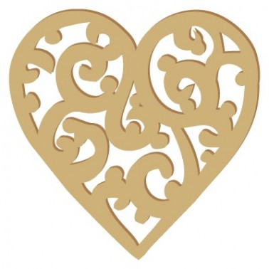 Wooden Silhouette 011 Filigree Heart