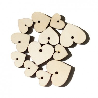 Set of Wood 015 Heart Tags 12 pcs