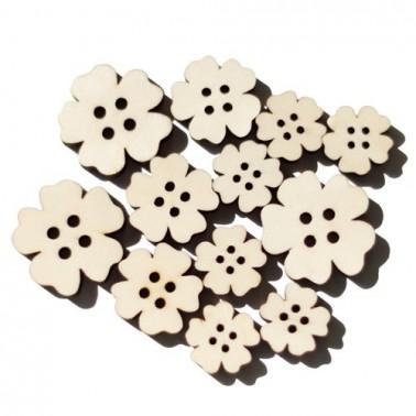 Set of Wood 021 Flower Buttons 12 pcs