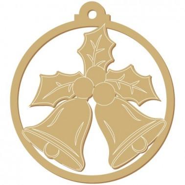 Wooden Silhouette Festivity 008 Christmas Bells