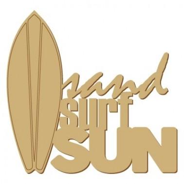 Wooden Plate Poster 011 Sand Surf Sun