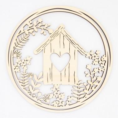 Wooden Plate 101 Birdhouse Wreath
